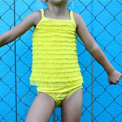 Yellow Ruffled Tankini Swimsuit tutorial from MADE Everyday