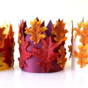 Fall leaves harvest crown - a kids' crafty tutorial from MADE Everyday