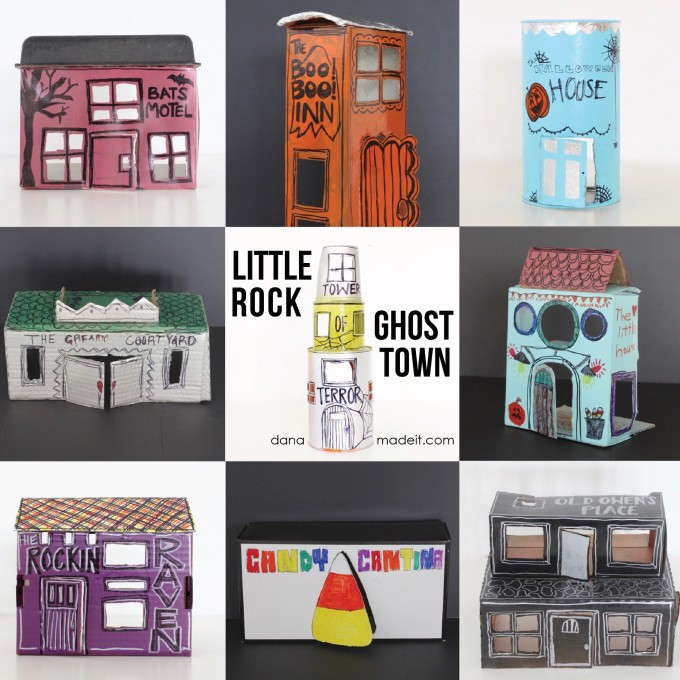 Little Rock Ghost Town buildings made from recycled boxes