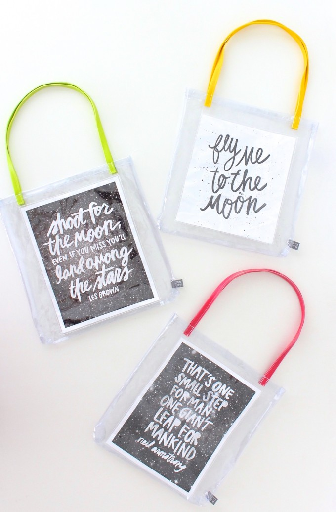How to sew vinyl bags with quotes. Quote Totes on MADE