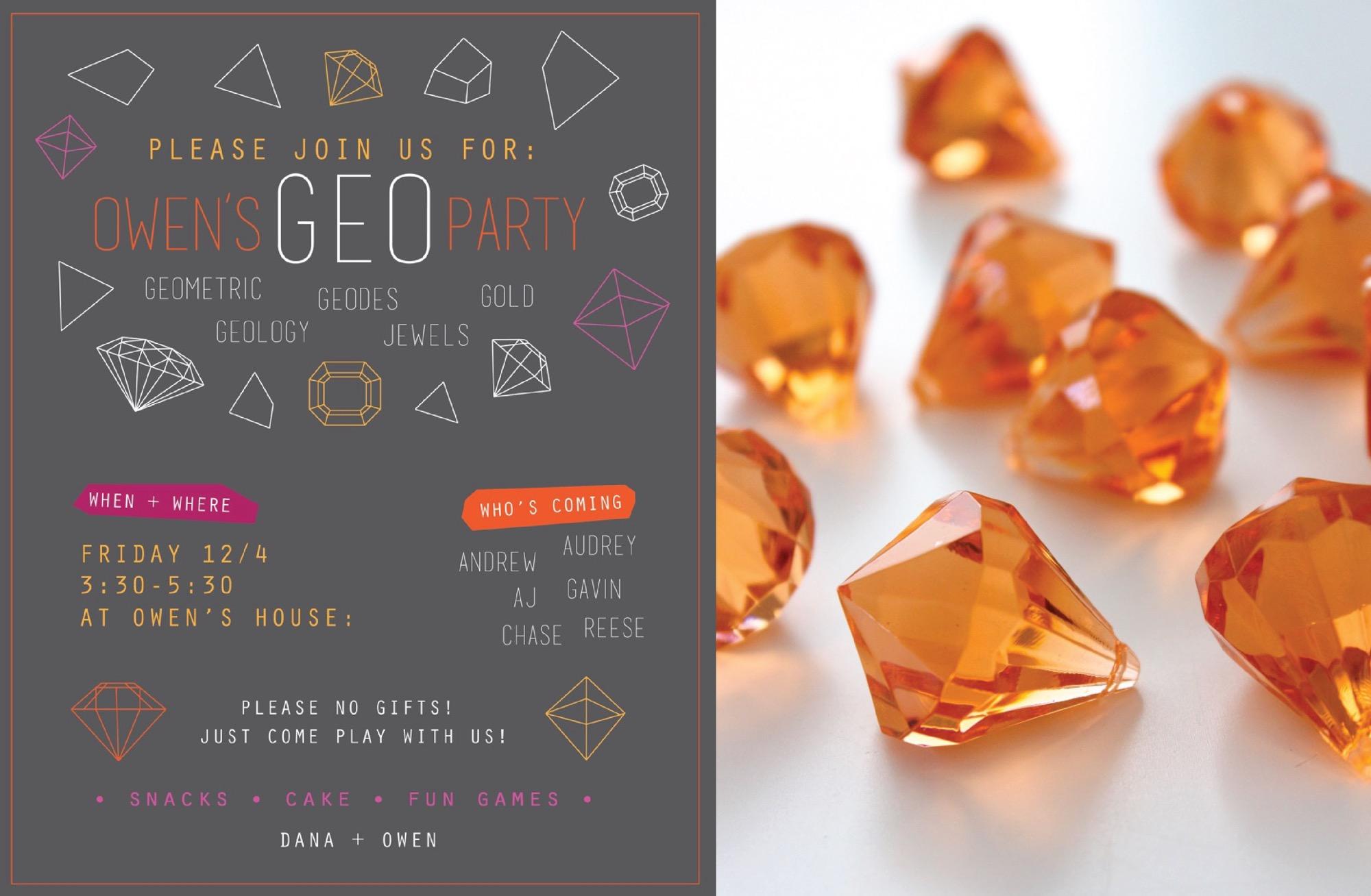 GEO party invitation owen's geo birthday party made everyday,Geology Birthday Party Invitations