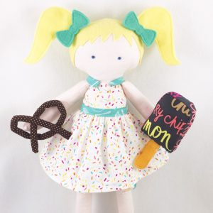 Boardwalk Delight fabric collection designed by Dana Willard for Art Gallery Fabrics - doll sewn by Kid Giddy