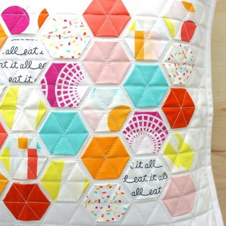 Boardwalk Delight fabric collection designed by Dana Willard for Art Gallery Fabrics - Hexie Pillow by Modern Handcraft