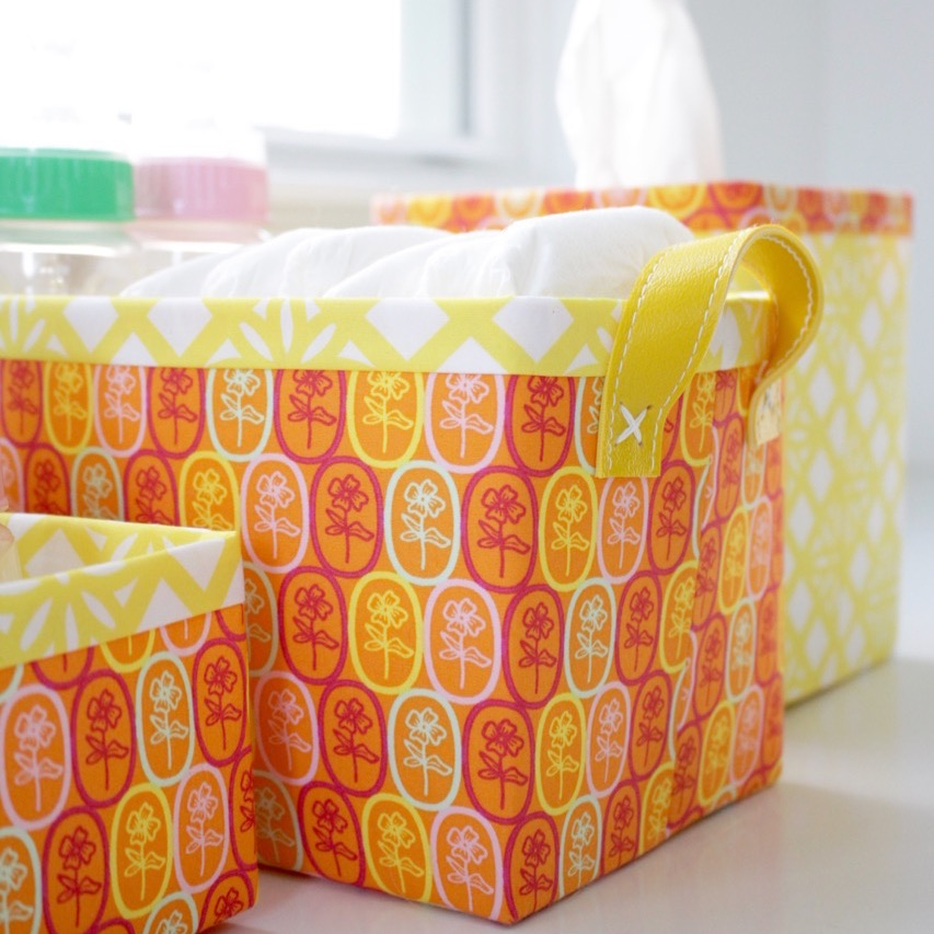 Fiesta Fun fabric collection designed by Dana Willard for Art Gallery Fabrics | Florita Party and Zocalo Lemon prints | FREE Sturdy Fabric Basket pattern from Lillyella