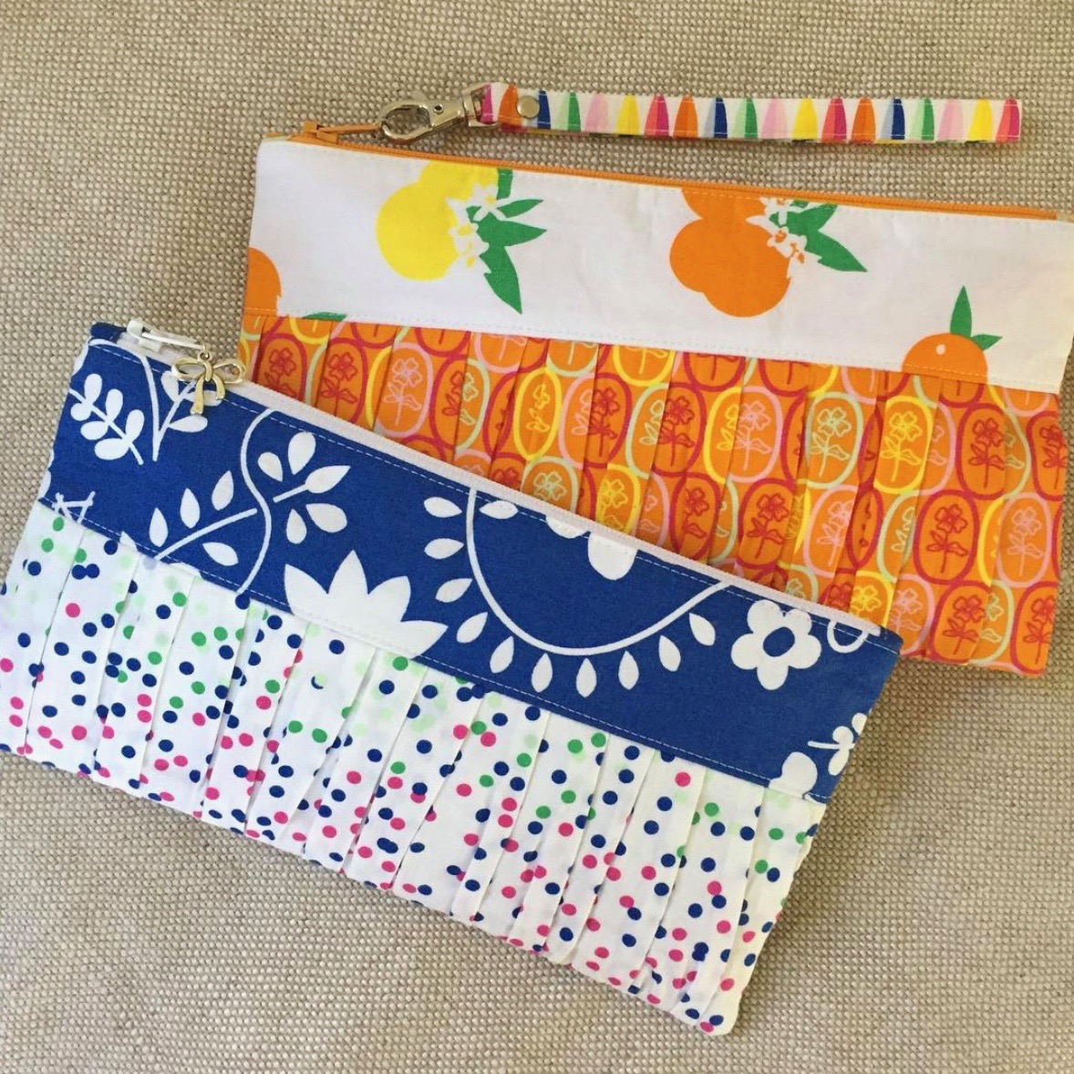 Fiesta Fun fabric collection designed by Dana Willard for Art Gallery Fabrics | Ruffled Wristlet clutch sewing pattern from Carlas Creations available on Craftsy