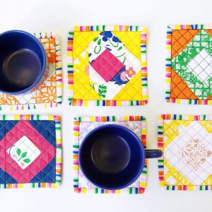 Fiesta Fun fabric collection designed by Dana Willard for Art Gallery Fabrics | quilted coasters