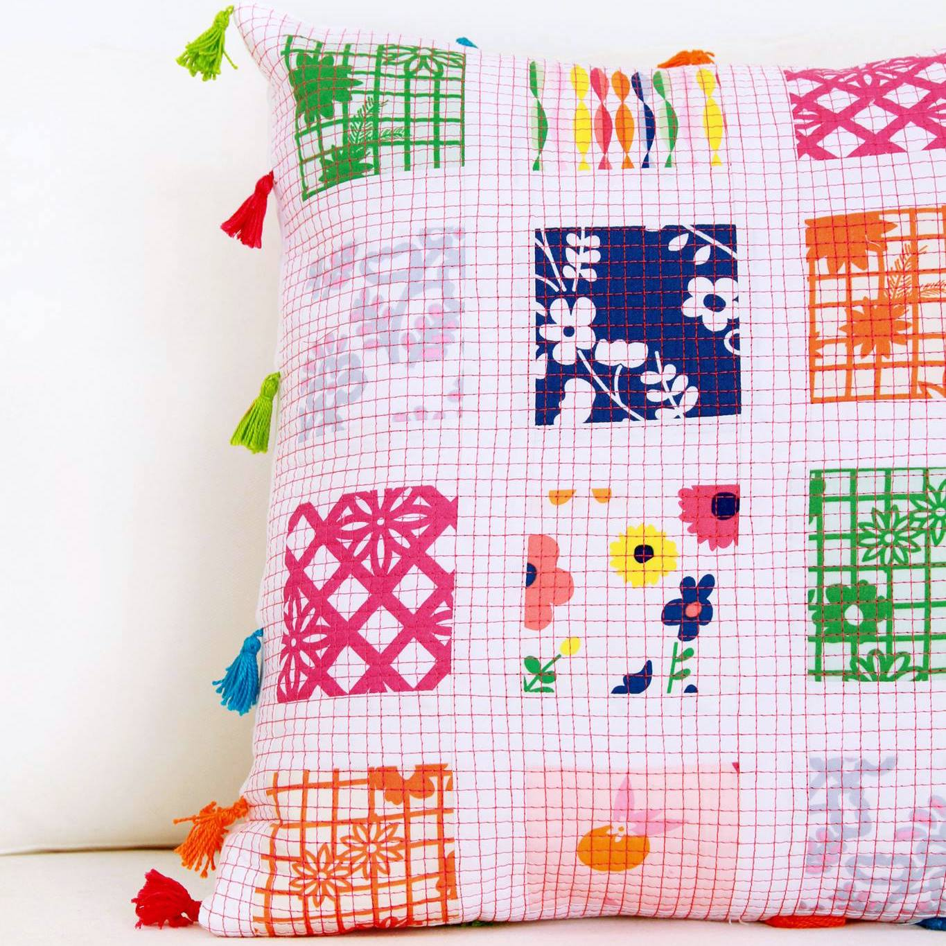Fiesta Fun fabric collection designed by Dana Willard for Art Gallery Fabrics | quilted pillow