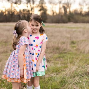 girls dresses sewn by Teal and Finch | Fiesta Fun fabric collection designed by Dana Willard for Art Gallery Fabrics