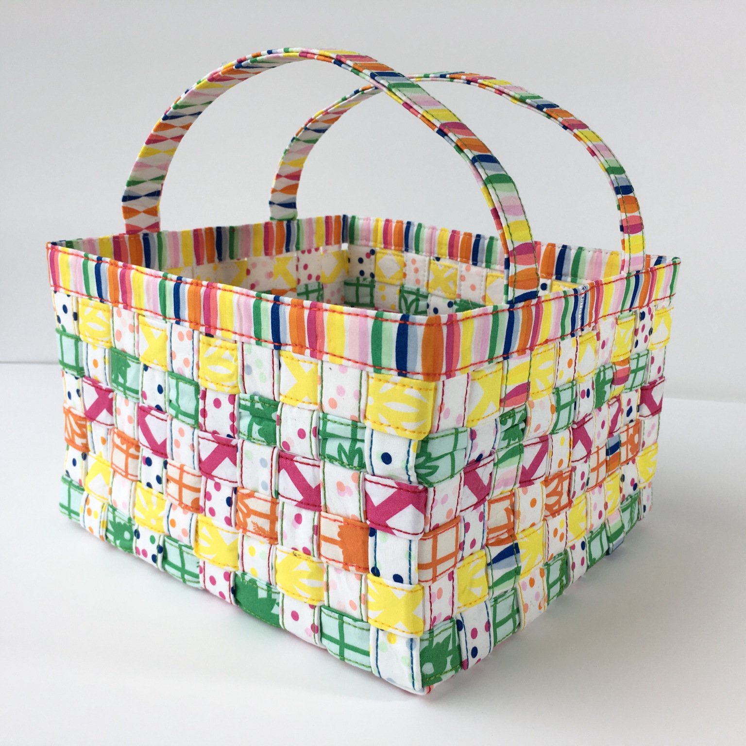 woven easter basket tutorial from Mister Domestic | Fiesta Fun fabric collection designed by Dana Willard for Art Gallery Fabrics