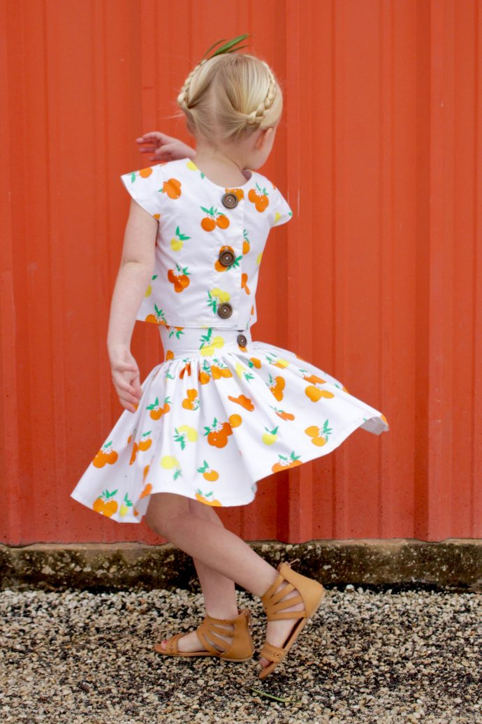 Citrus Sunrise skirt and top using Fiesta Fun fabrics by Dana Willard for Art Gallery Fabrics