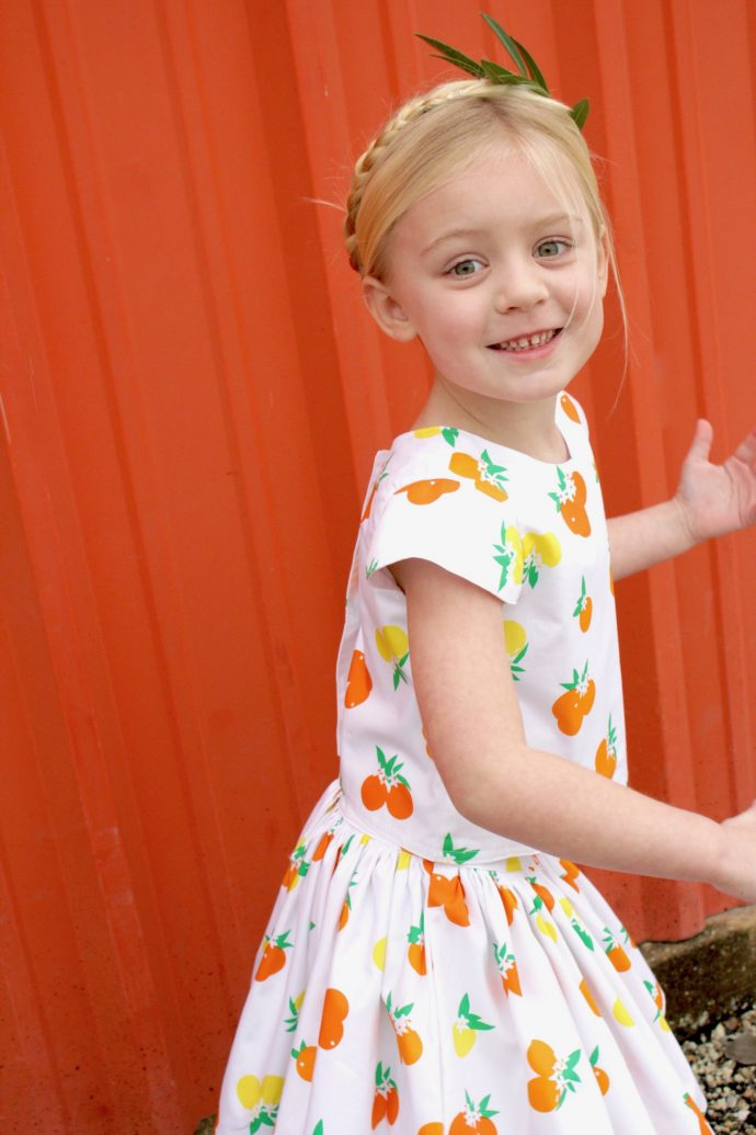 Fiesta Fun fabric collection by Dana Willard for Art Gallery Fabrics | Citrus Sunrise print | First Day Dress top and Anywhere Skirt