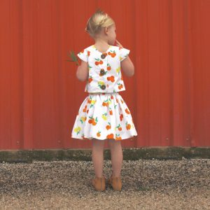 Citrus Sunrise skirt and top in Fiesta Fun fabrics by Dana Willard for Art Gallery Fabrics