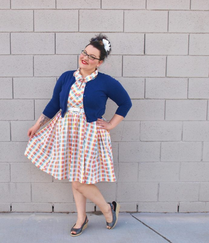 Happy Streamers Dress using Fiesta Fun fabrics by Dana Willard for Art Gallery Fabrics