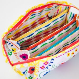 Fiesta Fun fabric collection by Dana Willard for Art Gallery Fabrics - Happy Streamers print - Sew Together Bag by Sew Demented - sewn by Sewbon