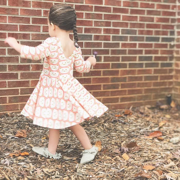 Janie Dress from Welcome to the Mouse House | sewn by sevenpretty | Cat Nap Pink knit | Blush fabric collection by Dana Willard from Art Gallery Fabrics