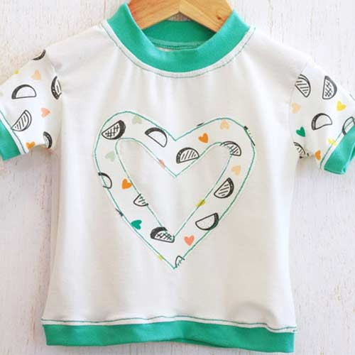 Taco Love Light knit from Day Trip fabric collection by Dana Willard for Art Gallery Fabrics | Ringer Tee free sewing pattern