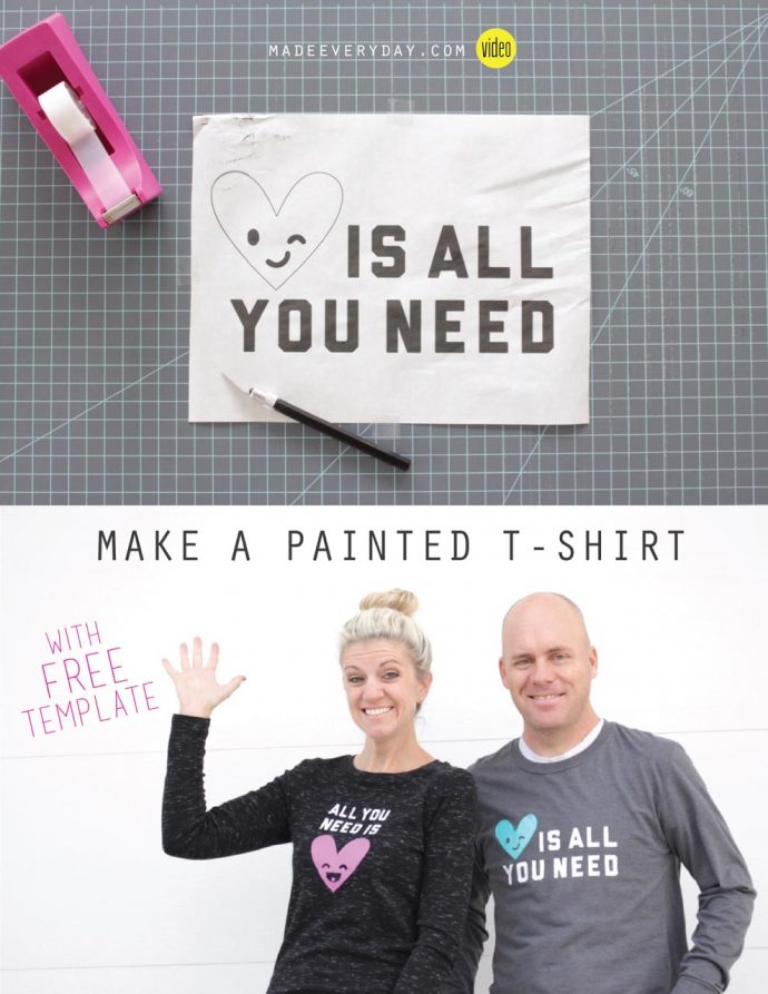 How to Paint a T-shirt using a Freezer Paper Stencil | video tutorial from MADE Everyday with Dana Willard
