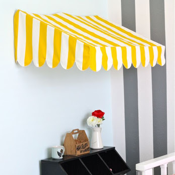 Bistro awning kid's room decor - tutorial from MADE Everyday