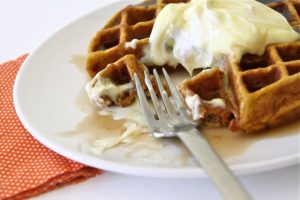 pumpkin waffles with lemon cream