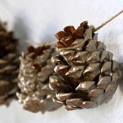 paint-dipped pine cones tutorial