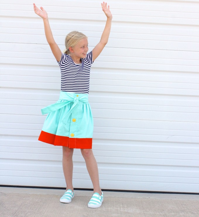 the Anywhere Skirt Pattern with color blocking