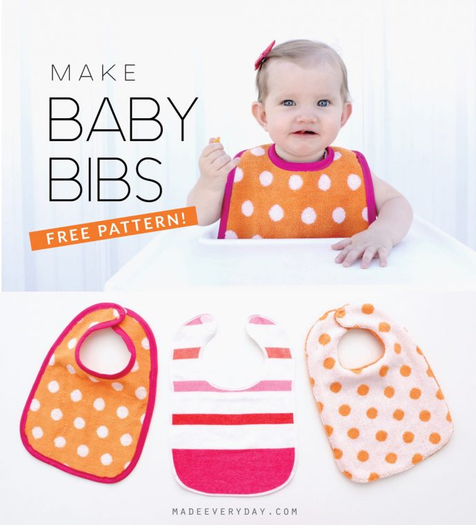 How to Sew a Baby Bib -- with a FREE PATTERN! -- tutorial from MADE Everyday with Dana