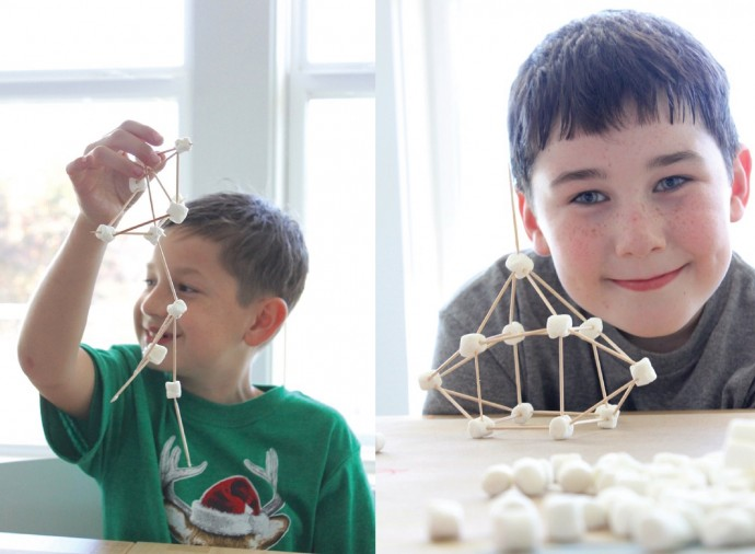 toothpick and marshmallow creations