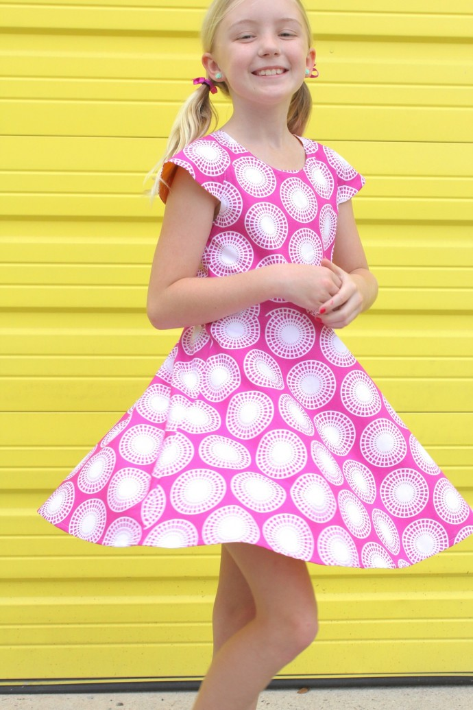 First Day Dress Pattern with Ferris Wheel print by Dana Willard for Art Gallery Fabrics