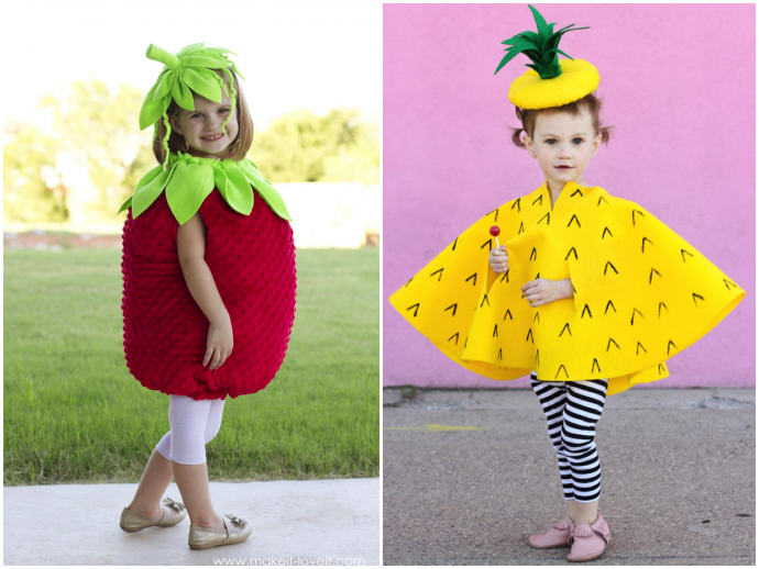 Strawberry and Pineapple Halloween costume tutorials