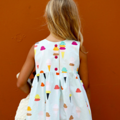 Geranium Dress from Made by Rae  |  Boardwalk Delight fabric collection designed by Dana Willard for Art Gallery Fabrics - Ice Cream Birthday Dress from Made by Rae