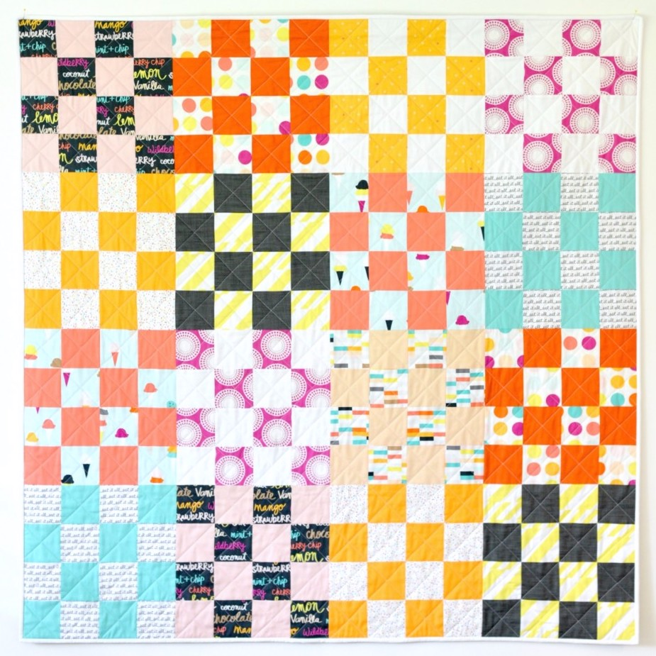 Boardwalk Delight fabric collection designed by Dana Willard for Art Gallery Fabrics - St Louis 16 Patch Quilt by Modern Handcraft