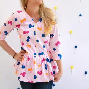 Fiesta Fun fabric collection designed by Dana Willard for Art Gallery Fabrics | Citrus Sunset print | Sweetheart Blouse sewing pattern by Burda