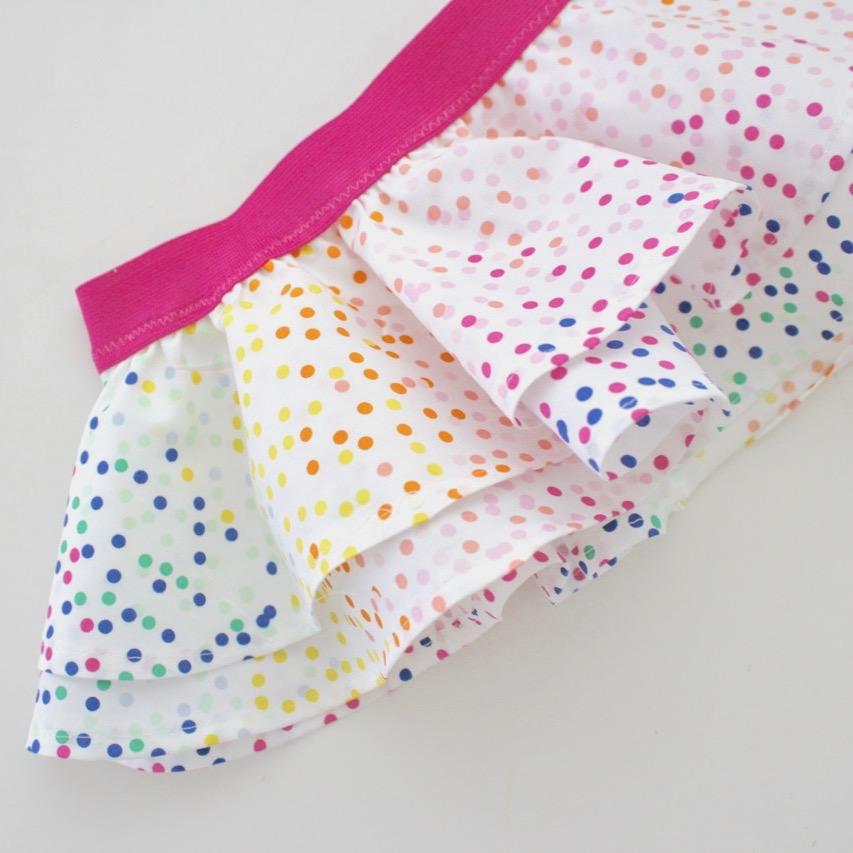 Fiesta Fun fabric collection designed by Dana Willard for Art Gallery Fabrics - Piñata Confetti print - FREE pattern and tutorial for baby circle skirt