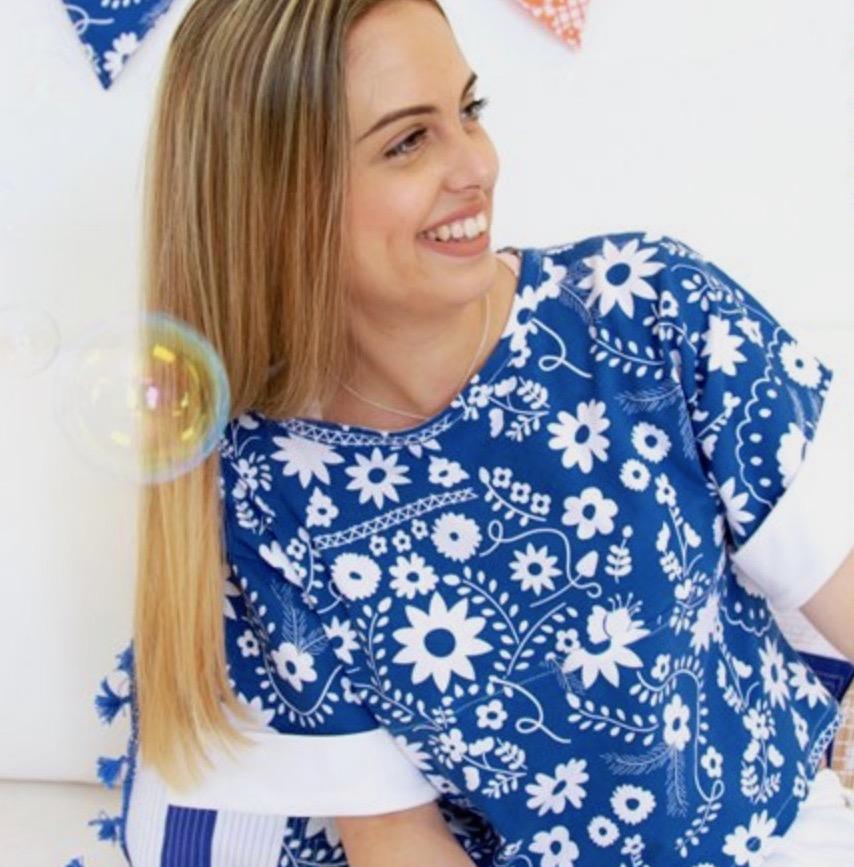 Fiesta Fun fabric collection designed by Dana Willard for Art Gallery Fabrics | Mexican Dress Midnight knit | Cuffed Sleeve Shirt sewing pattern from Burda #101A