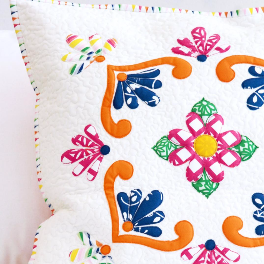 Fiesta Fun fabric collection designed by Dana Willard for Art Gallery Fabrics | Fiesta de Talvaera pillow quilted sewing pattern