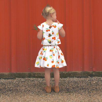 Citrus Sunrise skirt and top in Fiesta Fun fabrics by Dana Willard for Art Gallery Fabrics