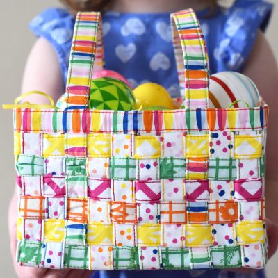 How to make a woven fabric Easter Basket using Fiesta Fun Fabrics by Dana Willard for Art Gallery Fabrics
