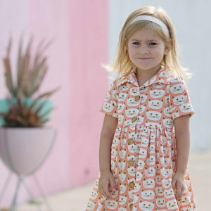 Hattie Dress from Violette Fields | sewing pattern for girls | Blush fabric collection by Dana Willard from Art Gallery Fabrics