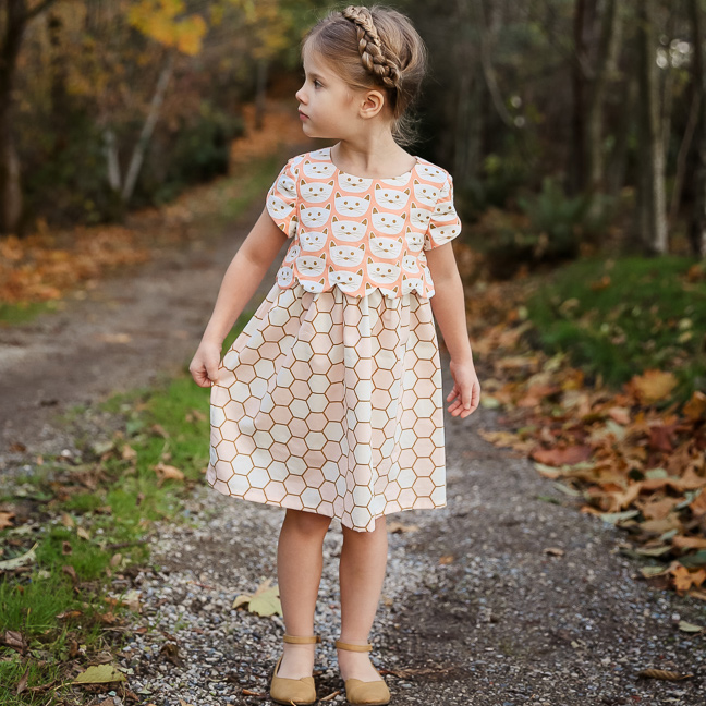 Sullivan Dress girls' sewing pattern from Sew Much Ado | Blush fabric collection by Dana Willard from Art Gallery Fabrics