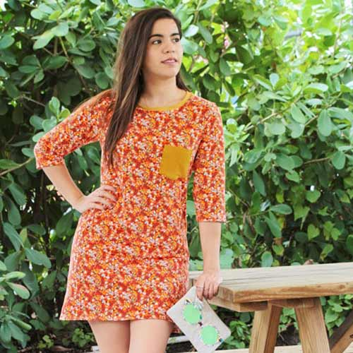 Autumn Field knit from Day Trip fabric collection by Dana Willard for Art Gallery Fabrics | Arum Dress sewing pattern from Deer and Doe