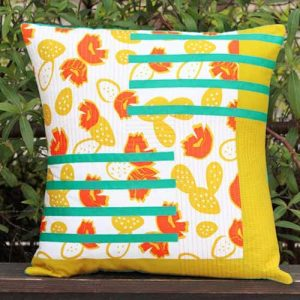 Cactus Boom Noon print from Day Trip fabric collection by Dana Willard for Art Gallery Fabrics | free pillow sewing pattern